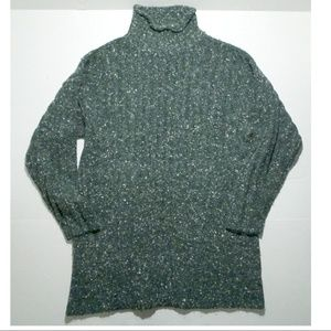 Angora Fuzzy Sweater Green turtleneck